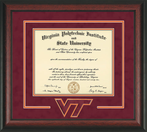 Image of Virginia Tech Diploma Frame - Rosewood - w/3D Laser VT Logo Cutout - Maroon Suede on Orange mat