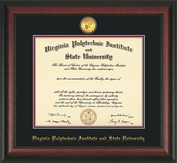 Image of Virginia Tech Diploma Frame - Rosewood - w/24k Gold-Plated Medallion VT Name Embossing - Black on Maroon mats