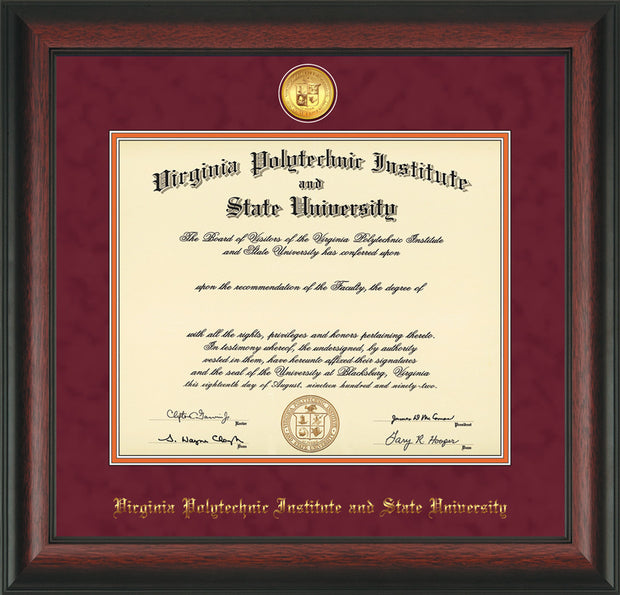 Image of Virginia Tech Diploma Frame - Rosewood - w/24k Gold-Plated Medallion VT Name Embossing - Maroon Suede on Orange mats
