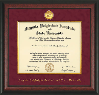 Image of Virginia Tech Diploma Frame - Rosewood - w/24k Gold-Plated Medallion & Fillet - w/VT Name Embossing - Maroon Suede mat