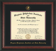 Image of Virginia Tech Diploma Frame - Rosewood - w/Embossed VT Seal & Name - Black on Maroon mat
