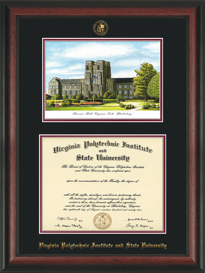 Image of Virginia Tech Diploma Frame - Rosewood - w/Embossed VT Seal & Name - w/Burruss Hall Campus Watercolor - Black on Maroon mat