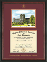 Image of Virginia Tech Diploma Frame - Rosewood - w/Embossed VT Seal & Name - w/Burruss Hall Campus Watercolor - Maroon on Orange mat