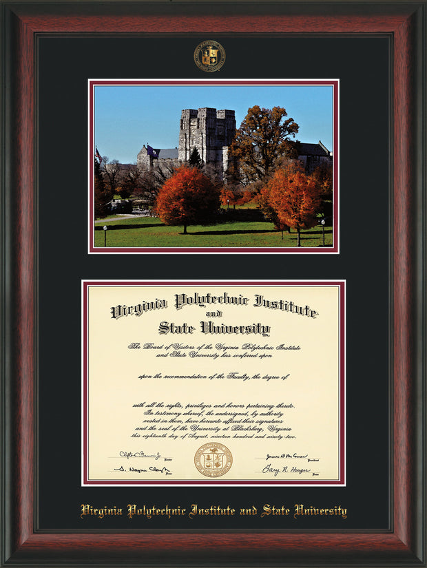 Image of Virginia Tech Diploma Frame - Rosewood - w/Embossed VT Seal & Name - w/Fall Burruss Campus Watercolor - Black on Maroon mat