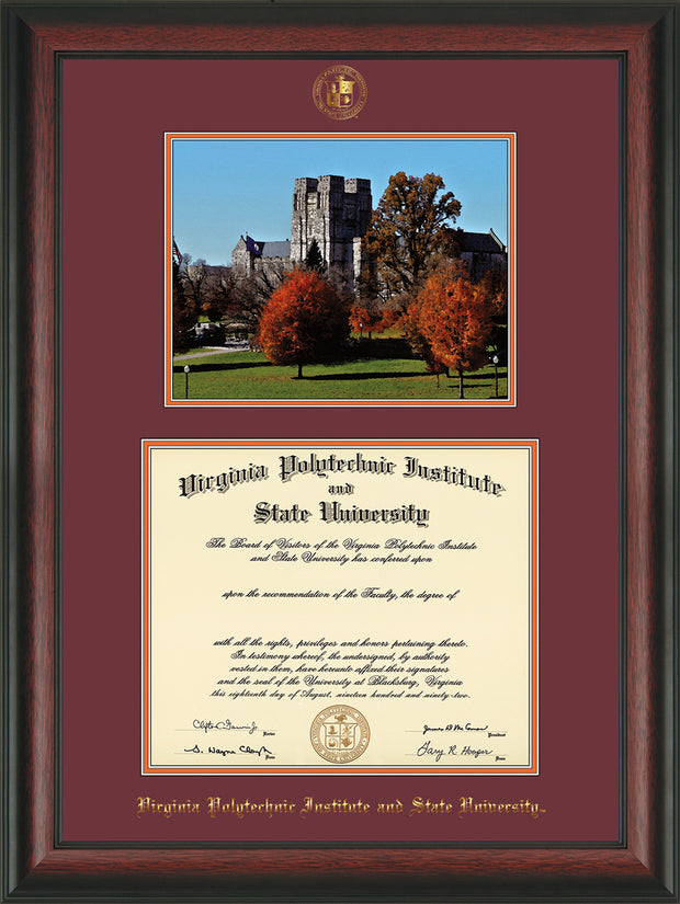 Image of Virginia Tech Diploma Frame - Rosewood - w/Embossed VT Seal & Name - w/Fall Burruss Campus Watercolor - Maroon on Orange mat