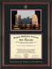 Image of Virginia Tech Diploma Frame - Rosewood - w/Embossed VT Seal & Name - w/War Memorial Campus Watercolor - Black on Maroon mat