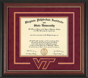 Image of Virginia Tech Diploma Frame - Rosewood w/Gold Lip - w/3D Laser VT Logo Cutout - Maroon Suede on Orange mat