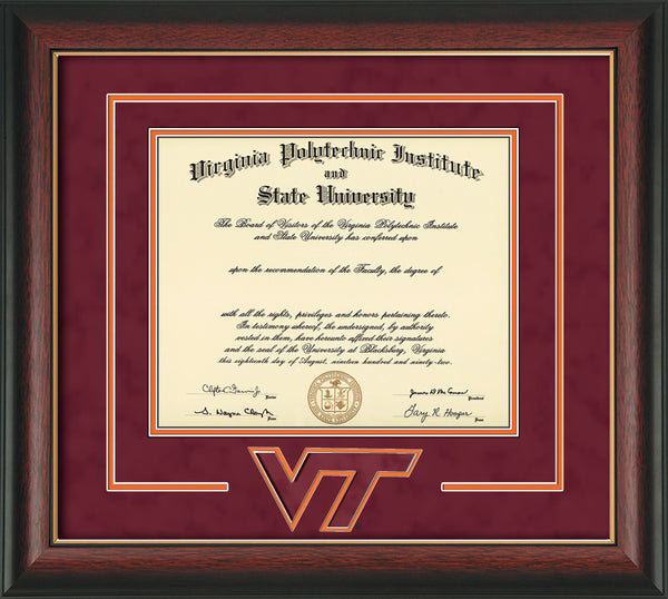 Virginia Tech Diploma Frame Rose Gold Lip W Vt 3d Cut Out