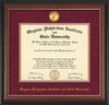 Image of Virginia Tech Diploma Frame - Rosewood w/Gold Lip - w/24k Gold-Plated Medallion VT Name Embossing - Maroon Suede on Orange mats