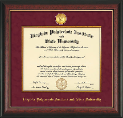 Image of Virginia Tech Diploma Frame - Rosewood w/Gold Lip - w/24k Gold-Plated Medallion & Fillet - w/VT Name Embossing - Maroon Suede mat