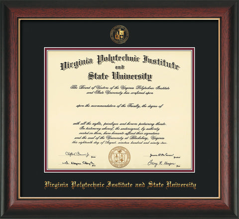 Image of Virginia Tech Diploma Frame - Rosewood w/Gold Lip - w/Embossed VT Seal & Name - Black on Maroon mat