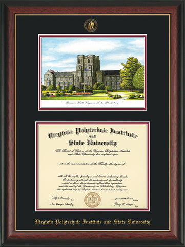 Image of Virginia Tech Diploma Frame - Rosewood w/Gold Lip - w/Embossed VT Seal & Name - w/Burruss Hall Campus Watercolor - Black on Maroon mat
