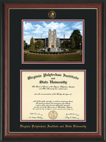 Image of Virginia Tech Diploma Frame - Rosewood w/Gold Lip - w/Embossed VT Seal & Name - w/Burruss Memorial Campus Watercolor - Black on Maroon mat