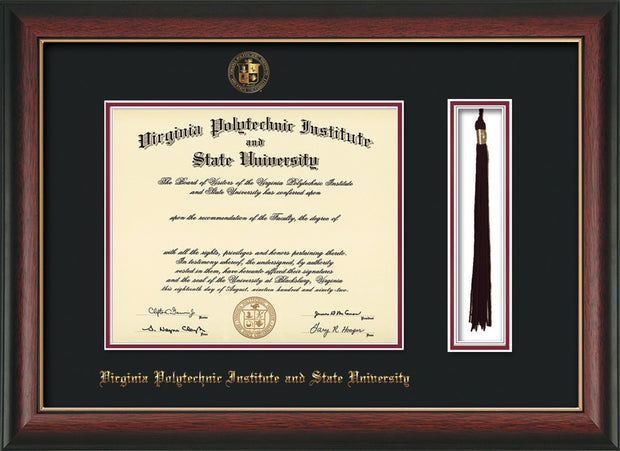 Image of Virginia Tech Diploma Frame - Rosewood w/Gold Lip - w/Embossed VT Seal & Name - Tassel Holder - Black on Maroon mat