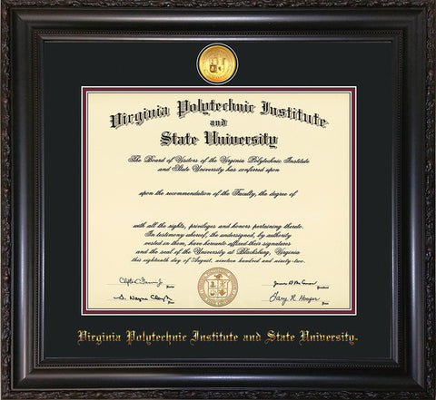 Image of Virginia Tech Diploma Frame - Vintage Black Scoop - w/24k Gold-Plated Medallion VT Name Embossing - Black on Maroon mats