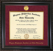 Image of Virginia Tech Diploma Frame - Vintage Black Scoop - w/24k Gold-Plated Medallion & Fillet - w/VT Name Embossing - Maroon Suede mat