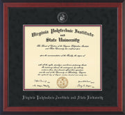 Image of Virginia Tech Diploma Frame - Cherry Reverse - w/Silver Embossed VT Seal & Name - Black Suede on Maroon mat