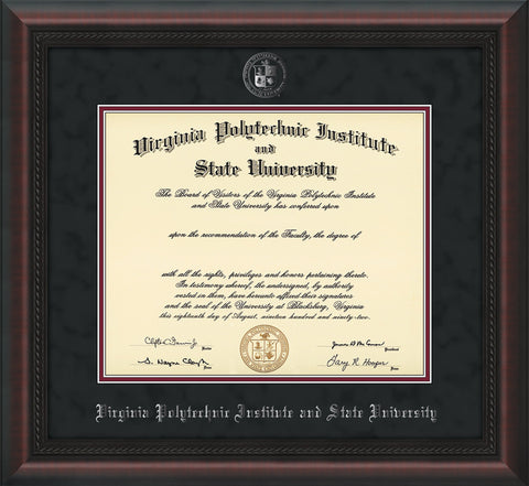 Image of Virginia Tech Diploma Frame - Mahgoany Braid - w/Silver Embossed VT Seal & Name - Black Suede on Maroon mat