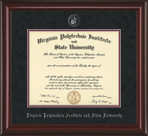 Image of Virginia Tech Diploma Frame - Mahogany Lacquer - w/Silver Embossed VT Seal & Name - Black Suede on Maroon mat