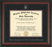 Image of Virginia Tech Diploma Frame - Rosewood - w/Silver Embossed VT Seal & Name - Black Suede on Maroon mat