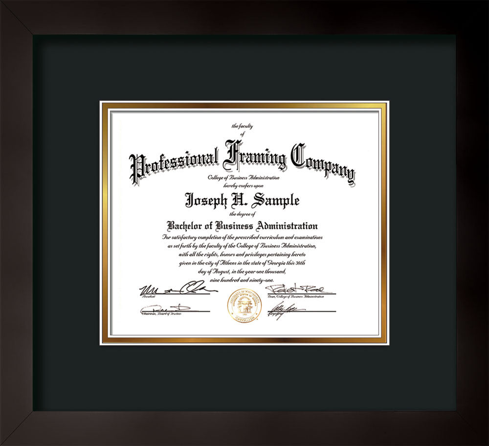 horizontal view of the custom flat matte black art and document frame with black on gold