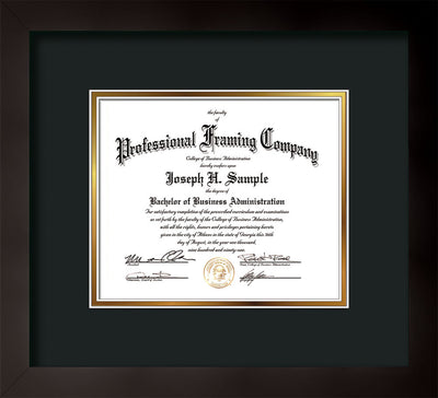 Horizontal view of the Custom Flat Matte Black Art and Document Frame with Black on Gold Mat