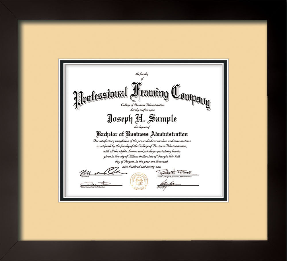 Custom Flat Matte Black Document - Certificate Frame - Cream on ...