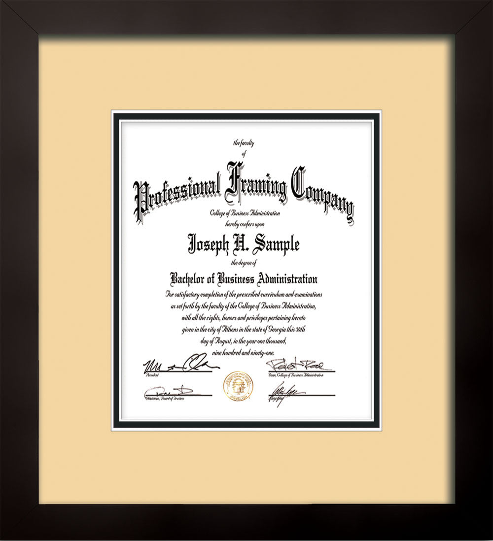 vertical view of the flat matte black art certificate and document frame with cream on - Document Frames
