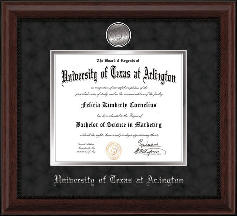 Image of University of Texas - Arlington Diploma Frame - Mahogany Bead - w/Silver-Plated Medallion UTA Name Embossing - Black Suede on Silver mats