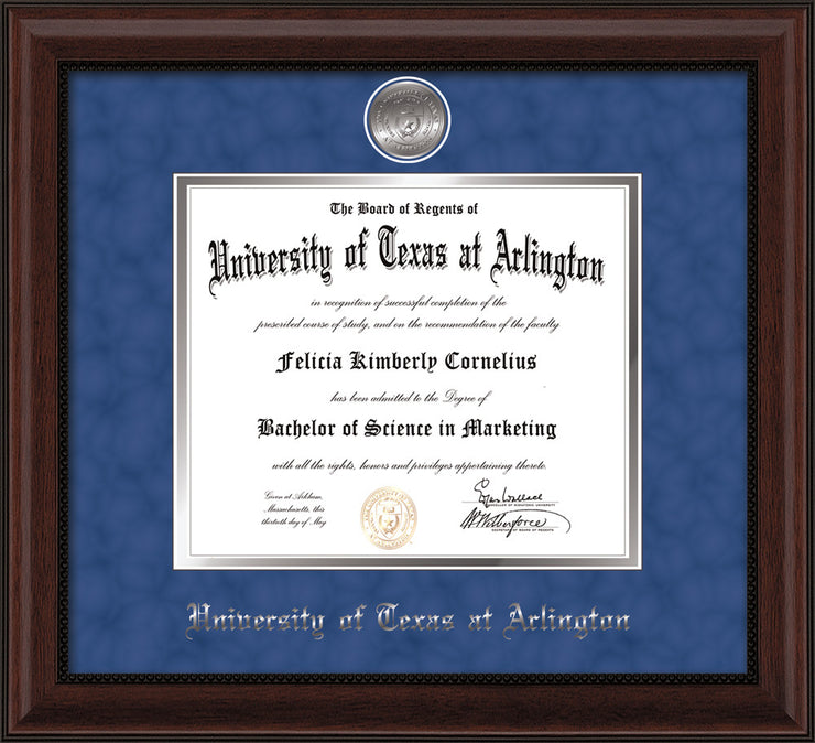 Image of University of Texas - Arlington Diploma Frame - Mahogany Bead - w/Silver-Plated Medallion UTA Name Embossing - Royal Blue Suede on Silver mats