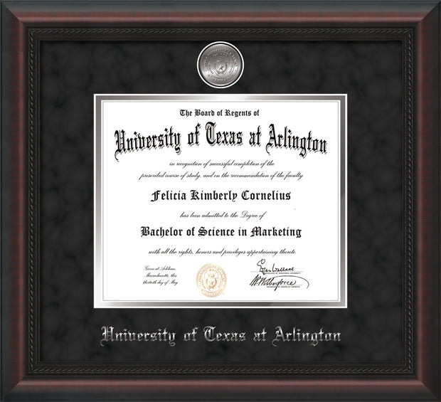 Image of University of Texas - Arlington Diploma Frame - Mahogany Braid - w/Silver-Plated Medallion UTA Name Embossing - Black Suede on Silver mats