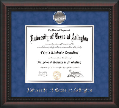 Image of University of Texas - Arlington Diploma Frame - Mahogany Braid - w/Silver-Plated Medallion UTA Name Embossing - Royal Blue Suede on Silver mats