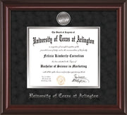 Image of University of Texas - Arlington Diploma Frame - Mahogany Lacquer - w/Silver-Plated Medallion UTA Name Embossing - Black Suede on Silver mats