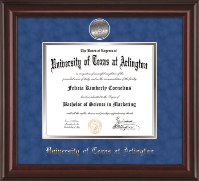 Image of University of Texas - Arlington Diploma Frame - Mahogany Lacquer - w/Silver-Plated Medallion UTA Name Embossing - Royal Blue Suede on Silver mats