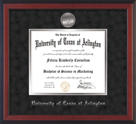 Image of University of Texas - Arlington Diploma Frame - Cherry Reverse - w/Silver-Plated Medallion UTA Name Embossing - Black Suede on Silver mats