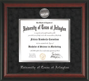 Image of University of Texas - Arlington Diploma Frame - Rosewood - w/Silver-Plated Medallion UTA Name Embossing - Black Suede on Silver mats