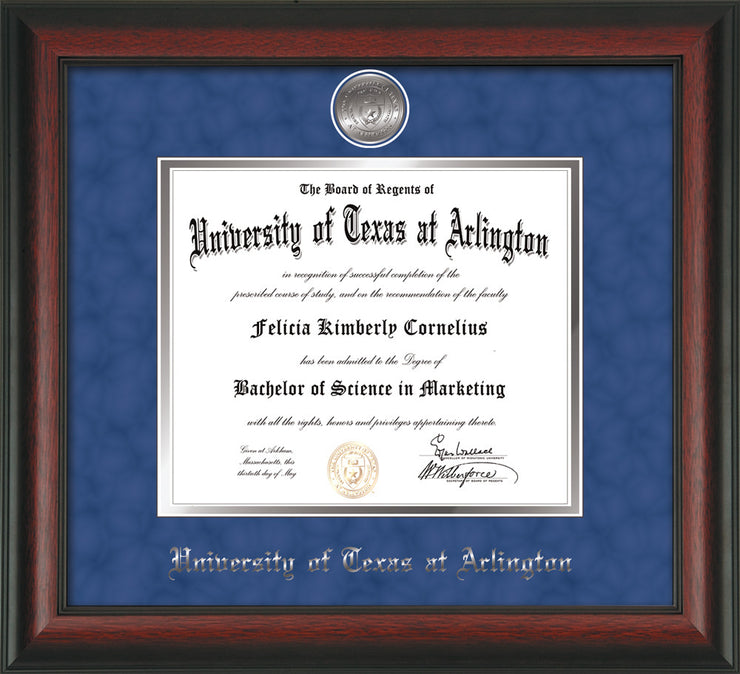 Image of University of Texas - Arlington Diploma Frame - Rosewood - w/Silver-Plated Medallion UTA Name Embossing - Royal Blue Suede on Silver mats