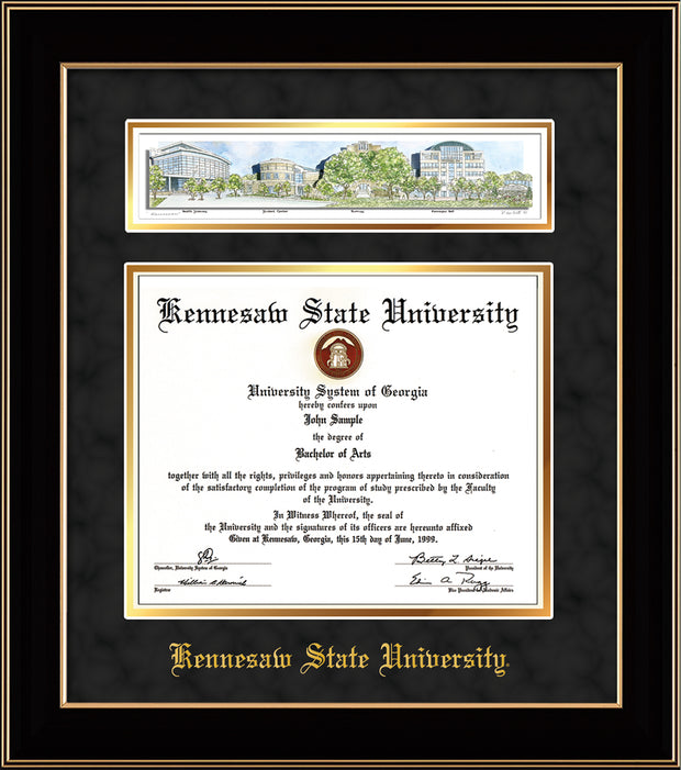 Image of Kennesaw State University Diploma Frame - Black Lacquer - w/Embossed School Name Only - Campus Collage - Black Suede on Gold mat