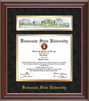 Image of Kennesaw State University Diploma Frame - Cherry Lacquer - w/Embossed School Name Only - Campus Collage - Black Suede on Gold mat