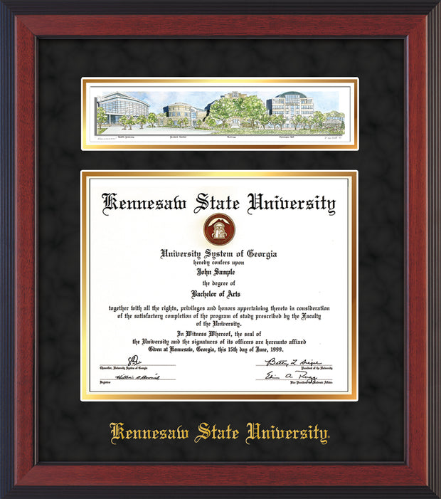 Image of Kennesaw State University Diploma Frame - Cherry Reverse - w/Embossed School Name Only - Campus Collage - Black Suede on Gold mat