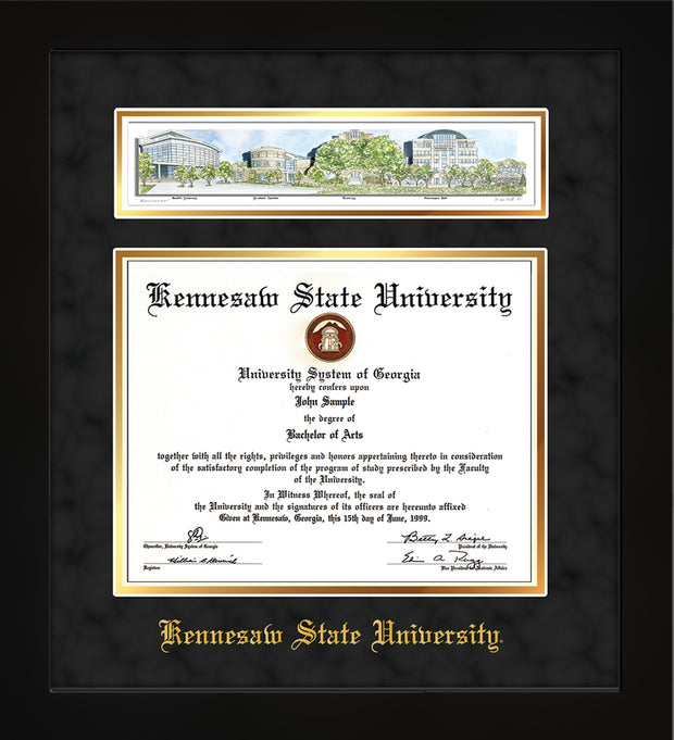 Image of Kennesaw State University Diploma Frame - Flat Matte Black - w/Embossed School Name Only - Campus Collage - Black Suede on Gold mat