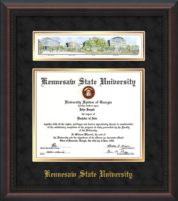 Image of Kennesaw State University Diploma Frame - Mahogany Braid - w/Embossed School Name Only - Campus Collage - Black Suede on Gold mat