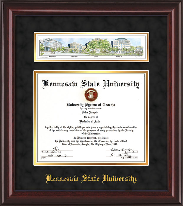 Image of Kennesaw State University Diploma Frame - Mahogany Lacquer - w/Embossed School Name Only - Campus Collage - Black Suede on Gold mat
