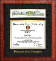 Image of Kennesaw State University Diploma Frame - Mezzo Gloss - w/Embossed School Name Only - Campus Collage - Black Suede on Gold mat