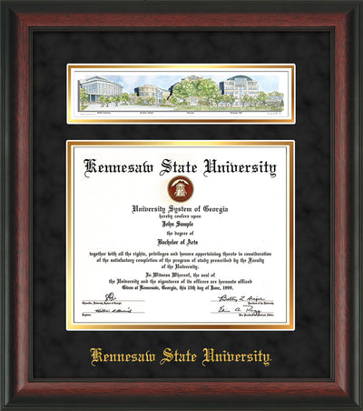 Image of Kennesaw State University Diploma Frame - Rosewood - w/Embossed School Name Only - Campus Collage - Black Suede on Gold mat