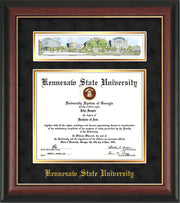 Image of Kennesaw State University Diploma Frame - Rosewood w/Gold Lip - w/Embossed School Name Only - Campus Collage - Black Suede on Gold mat