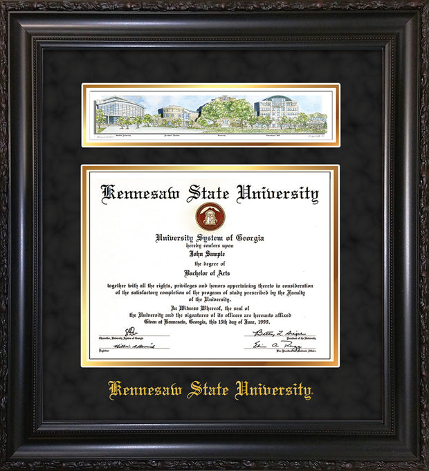 Image of Kennesaw State University Diploma Frame - Vintage Black Scoop - w/Embossed School Name Only - Campus Collage - Black Suede on Gold mat
