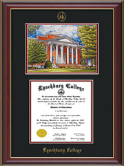 Image of Lynchburg College Diploma Frame - Cherry Lacquer - w/Embossed LC Seal & Name - w/Campus Watercolor - Black on Crimson mat