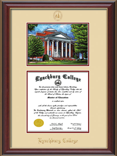 Image of Lynchburg College Diploma Frame - Cherry Lacquer - w/Embossed LC Seal & Name - w/Campus Watercolor - Cream on Crimson mat