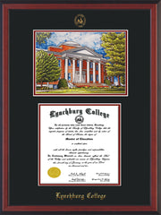 Image of Lynchburg College Diploma Frame - Cherry Reverse - w/Embossed LC Seal & Name - w/Campus Watercolor - Black on Crimson mat